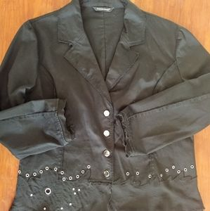 Samuel Dong Black Jacket With Silver Accents Sz. M